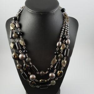 """J Jill Black, Gold Beads 3 Strand Necklace 22 1/2"""""""